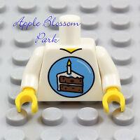 NEW Lego Boy Girl Minifig BIRTHDAY PARTY TORSO White Minifigure Shirt Cake Upper