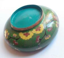 Vintage oriental cloisonne floral shallow bowl with green background 12196