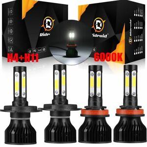 4x H11 H4 / 9003 LED Headlight Bulbs Fog Light Lamp 360 Degree Super Bright