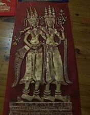 CAMBODIAN TEMPLE RUBBINGS FROM ANGKOR WAT OF ASPARA DANCERS ON RICE PAPER