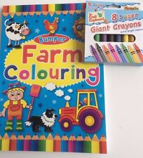 Bumper Farm Colouring Book with Box of Giant Wax Crayons