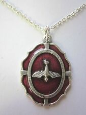 """Large Holy Spirit Medal Red Enamel Italy Pendant Necklace 20"""" Chain"""