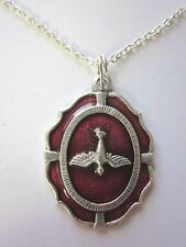 "Large Holy Spirit Medal Red Enamel Italy Pendant Necklace 20"" Chain"