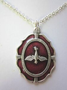 """Ladies Large Holy Spirit Medal Red Enamel Italy Pendant Necklace 20"""" Chain"""