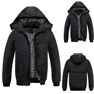 Mens Quilted Puffer Bubble Parka Coat Padded Hooded Jackets Winter Warm Outwear