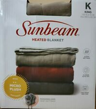 Sunbeam KING Size Heated Electric MicroPlush Blanket Beige 2 Controllers NEW!