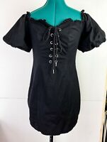 I Am Gia Black Off Shoulder Cropped Puff Sleeve Dress Modern Fun Festival Size S