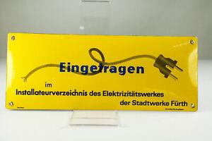 Emailschild Installateursverzeichnis Fürth NOS Pyro Email Vintage 50er 60er