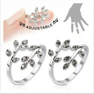 Rhodium Plated Silver Leaves with Paved Gems  Adjustable Mid- Ring or Toe Ring