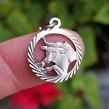 Vintage .835 Italian Silver TAURUS Astrology Zodiac Charm for Bracelet