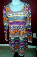 Halloween Multi Print Stretch Knit Dress - Women's M Jr's L  Long Sleeve