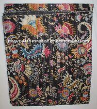 Ethnic Handmade Black Mukut Printed Kantha Blanket Bedding Queen Size Bedspread
