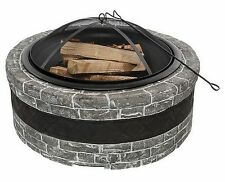 "New Large Outdoor Fireplace Cast Stone Sides 35"" Wood Burning Fire Pit FirePit"