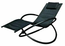 Schallen Breathable Steel Rocker Lounger Outdoor Garden Chair with Pillow BLACK