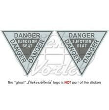 DANGER Ejection Seat RAF USAF NATO LowVis Aircraft 90mm Vinyl Stickers Decals x2