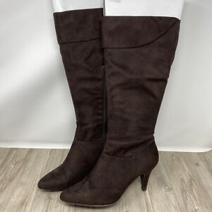 New Look, Brown Faux Suede Long Zip up Mid-Calf Boots heels. UK Size 7. EXC CON.
