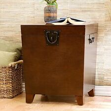 Hope Chest Storage Trunk Wood Wooden End Table Small Box For Quilts Blanket