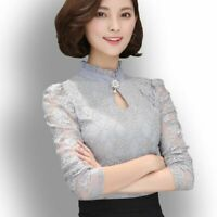 Ladies Chiffon Lace Blouses Tops Chic Long Puff Sleeved Shirt Ruffled Party OL