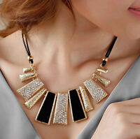 Choker Necklace Chain bib Pendant Statement Crystal Fashion Women Jewelry Chunky