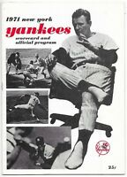 1971 New York Yankees Scorecard And Program Versus Oakland A's Scored