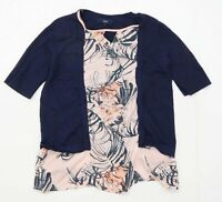 Next Womens Size 14 Abstract Cotton Blend Multi-Coloured Top (Regular)