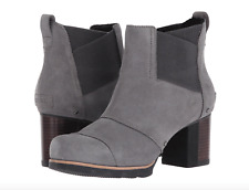Sorel Womens Addington Chelsea Boots Size 10 Quarry Black Waterproof Leather