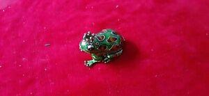 "Monet Gold Green & Brown Enamel Frog with Rhinestone Crown Trinket Box 1-1/2"" H"