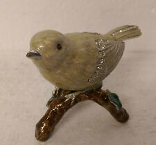 Enamelled Jewelled Bird Figurine on a Branch. White and Ivory Colour.