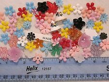 60 VTG PLASTIC FLOWERS JEWELRY FINDINGS HUGE LOT w/ HOLE REPAIR CRAFTS