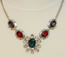 Clear Red Green Black Gem & Silvertone Necklace - NEW
