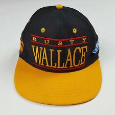 Vintage Rusty Wallace Ford Racing NASCAR Snapback Yellow Black USA Made Hat Cap