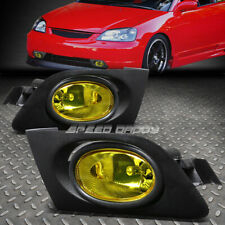 FOR 01-03 HONDA CIVIC 2/4DR AMBER LENS BUMPER DRIVING FOG LIGHT LAMPS W/ SWITCH