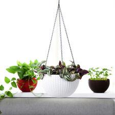 Flower Pots Plant Hanger Hanging Basket Garden Holder Plastic Pot Metal Chain