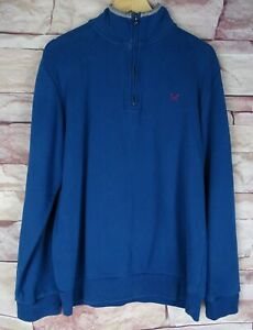 CREW CLOTHING men's blue cotton 1/4 zip jumper sweater large