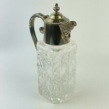 More details for vintage silver plate mounted glass claret jug face design spout 20cm