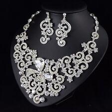 Bow-knot Daisy Clear Austrian Rhinestone Necklace Earrings Set Bridal Prom N80