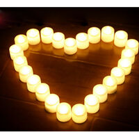 LED Tea Lights Battery Operated Fake Candles Flameless Flickering White 12pcs