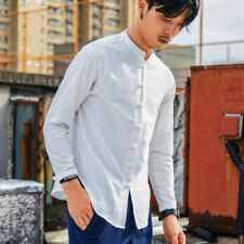 Summer Men's Stand Collar Blouses Chinese Style Shirts Tops Button Front lp00