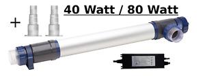 UVC Klärer 40 W/ 75 W / 80 W Edelstahl, Aluminium, UVC Lampe Teich