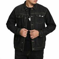 Men Denim Jacket Top Print Heavy Duty Trucker Jean Coat Retro Western Style Warm