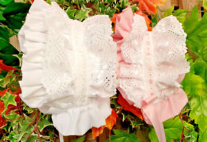 DREAM 0-3 year baby girl frilly traditional lined broderie summer lined bonnet