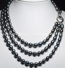 Baroque Pearl Jewelry Necklace 17-20'' 3 Rows 9-10Mm Black Tahitian Cultured