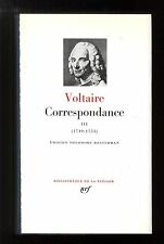 VOLTAIRE Correspondence Vol.3 Library of the Pleiades no.259 EO 1975