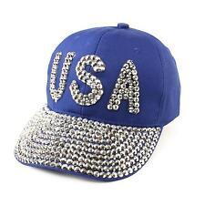 USA Jewel Rhinestone Bling Studs Sparkle Baseball Ball Cap Hat Adjustable Blue