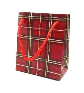 Pack of 12 Mini Red Tartan Gift Bags, Paper Party Bags Sweet Bags