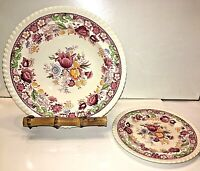"""Johnson Bros Winchester Soup Bowl & Plate 6.25"""" Pink Rope Rim Floral England EUC"""