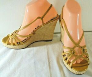Steve Madden Strappy Wedges Yellow Gold 5 inch heels rattan wedges