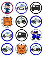 "24 POLICE 2"" CUPCAKE WAFER PAPER CAKE TOPPER #1"
