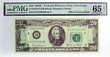 1969 C $20 FRN Cleveland Fr#2070-D DB Block Offset Printing Error PMG UNC 65 EPQ