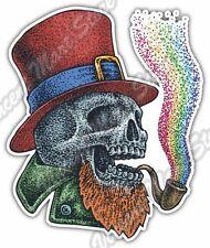 "Irish Leprechaun Skull Smoking Pipe Rainbow Car Bumper Vinyl Sticker Decal 4""X5"""